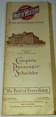 1915 Chicago & North Western Railway Line Passenger Time Tables Booklet !