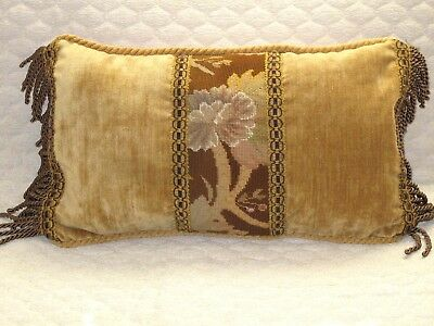 LOVELY ANTIQUE 19th c WOOL NEEDLEPOINT TAPESTRY FLORAL LUMBAR PILLOW WOOLWORK