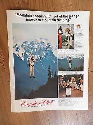 1972 Canadian Club Whiskey Ad Mountain Hopping Climbing Jet Age Rocket Pack
