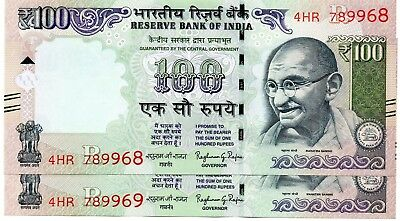 INDIA 100 Rupees 2016 P NEW Letter R x 2 Consecutive UNC Banknotes