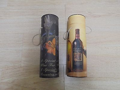 (2) Nice Decorative Wine Bottle Box Tube Cyliners to Store or Carry Bottles