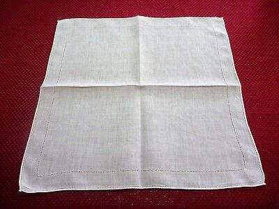Vintage/estate 6 Pure Linen Ecru Table Napkins Serviettes Hem Detail 38 X 38 Cm