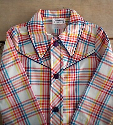 Vintage 1970s Size 12 Months Merry Mites By Young World Boys Plaid Cowboy Jacket