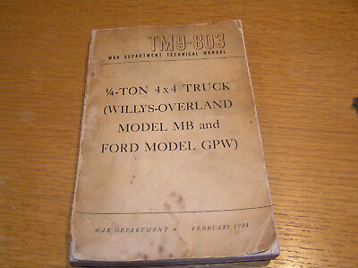 Original 1944 WWII Manual Book TM 9-803 Willys Overland MB Ford GPW Jeep