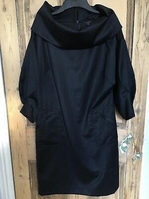 *TED BAKER* Size 3 12 Black sleeve cowl neck dress with pockets arty look