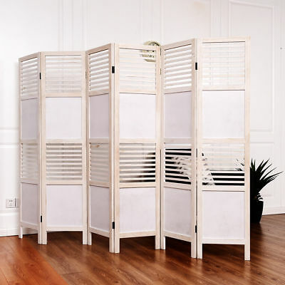 6 Panel White Room Divider Wood Folding Freestanding Partition Privacy Screen