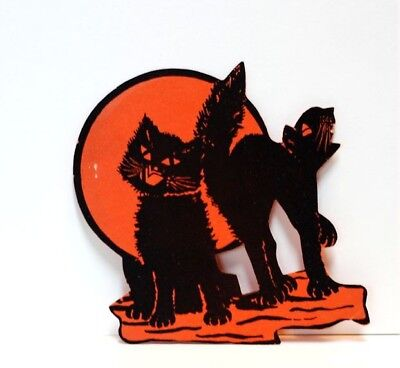 Whitney 1920s Two Cats on Moon Halloween Die Cut