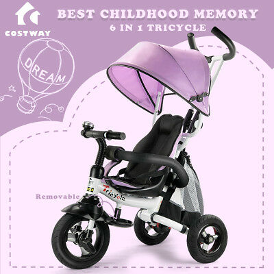 6-In-1 Kids Baby Toddler Stroller Tricycle Learning Bike Ride on Trike Pram Gift