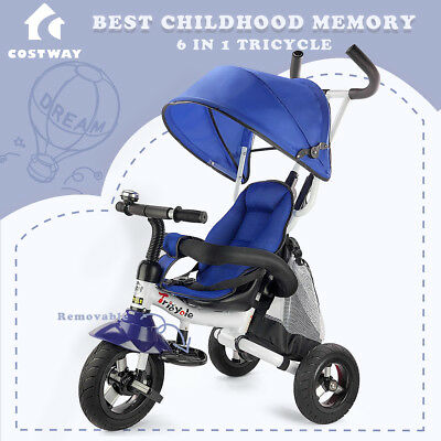6-In-1 Kids Baby Toddler Stroller Tricycle Learning Bike Ride on Trike Pram Fold