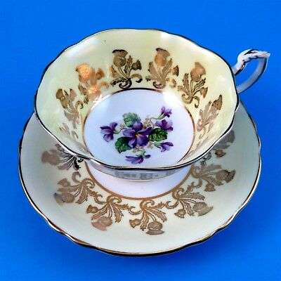 Yellow Border with Gold Thistle and Violet Center Paragon Tea Cup and Saucer Set
