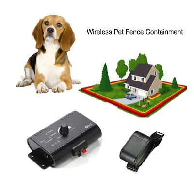 Safe Wireless Electric Dog Fence System Shock Collars + Receiver For Pet Dog AU