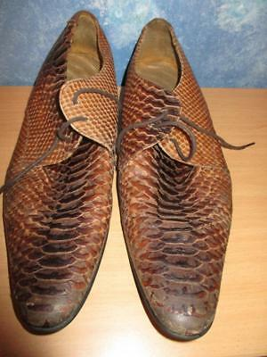 Mens Vintage Genuine Snake Skin Leather Shoes by Hudson Size 44 /Oz 9 Tan Colour