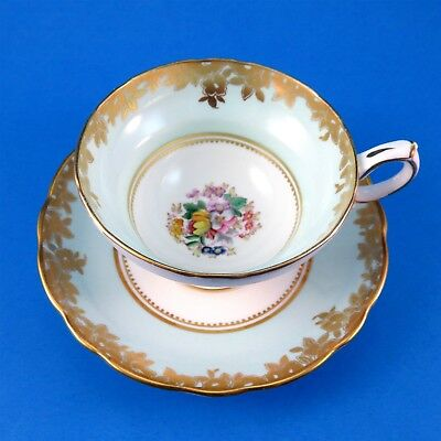 Light Blue with Floral Center Hammersley Tea Cup and Saucer Set
