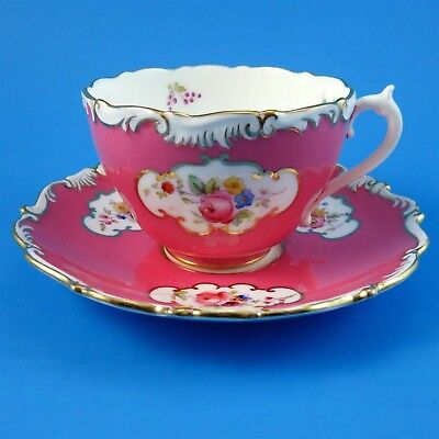 Ornate Pink Border with Floral Cameos Coalport Tea Cup & Saucer (some scratches)
