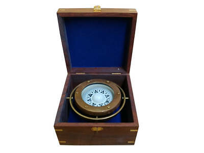 "Lifeboat Gimbaled Ship's Compass Antique Brass 5"" Rosewood Case Nautical Decor"