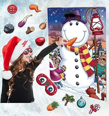 Christmas Party Family Gift Stocking Filler Pin The Nose On The Snowman Game