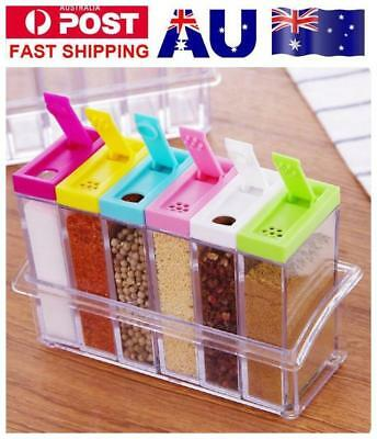 6Pcs/Set Spice Jar Condiment Storage Seasoning Bottle Container Kitchen Food Box