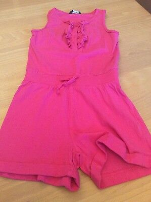 girls clothes 6-7 years George Bright Pink Cotton Frilled Top Shorts Playsuit
