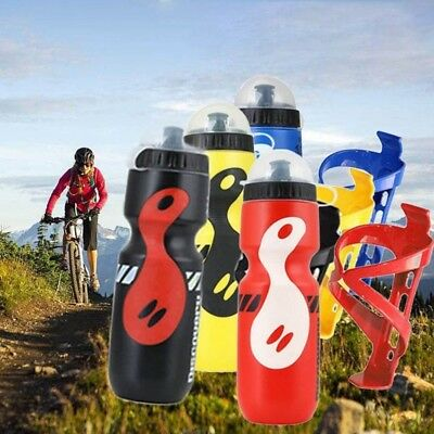 UK STOCK 750ML Mountain Bike Bicycle Cycling Water Drink Bottle + Holder Cage