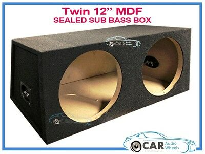 "Double Dual 12"" Car Subwoofer Sealed Enclosure 12In Sub Woofer Speaker Box Car"