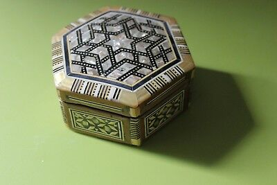 Vintage Middle Eastern Mosaic Inlay Jewellery Box Wood Mother Of Pearl Hexagon