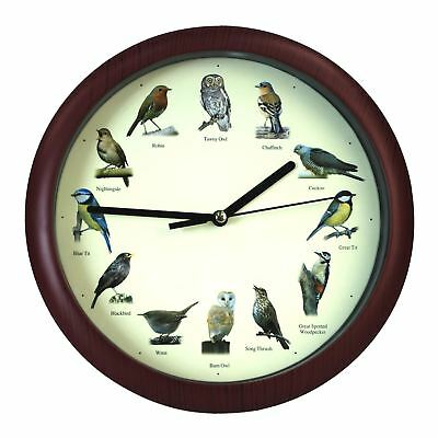Simpa Singing British Bird Wall Clock - Analogue Wall Clock 20cm Diameter