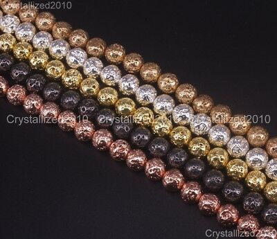 Natural Volcanic Lava Gemstone Round Beads 4mm 6mm 8mm 10mm 12mm Metallic 15.5""