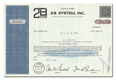 2B System, Inc. Stock Certificate
