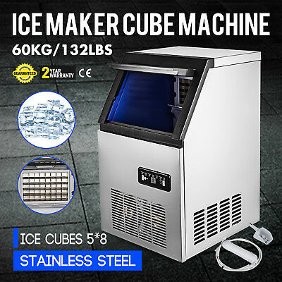 Stainless Steel Commercial Ice Maker Built-In Undercounter Freestand 132LB/24H