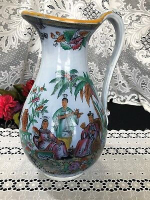 "Large Antique F M Transferware ""Asian Pattern"" Pitcher 13"""
