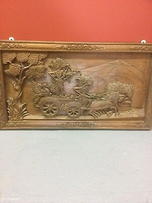 Pair Of  Oriental Hardwood  Carved Panels Sn-296