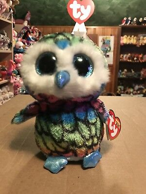 "9f33f4b0b60 Ty ARIA -Rainbow Striped Owl 6"" Beanie Boo!  Retired Exclusive  RARE"