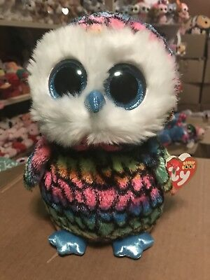 "14d8491a5b8 Ty ARIA -Rainbow Striped Owl 10"" Beanie Boo Buddy!  Retired Exclusive"