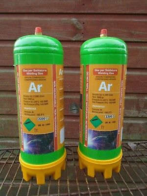 2 x Argon Disposable Gas Bottle 2.2 Ltr Cylinder @ 100 bar E882