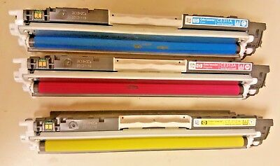 Lot of 3 Genuine CE311A CE312A CE313A 126A   HP Partially Used Toner Cartridges