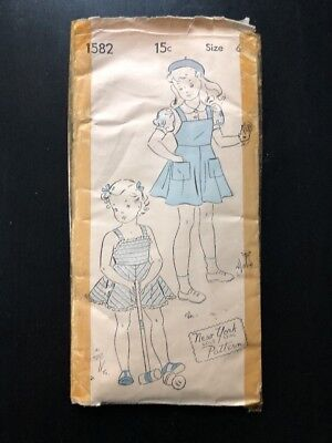 Vintage New York Gold Seal Pattern # 1582 Size 6 Child's Jumper & Blouse