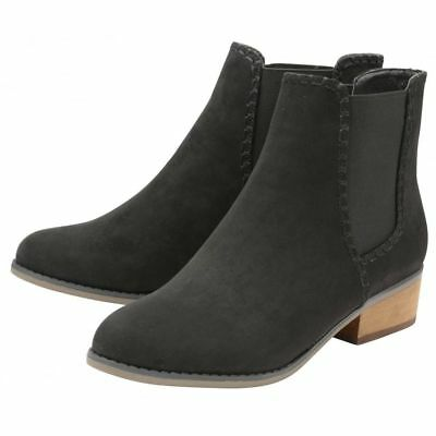 Ladies Dolcis Pasha Chelsea Western Memory Foam Black Low Heel Ankle Boots Uk 7