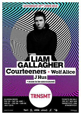 """Reproduction """"Liam Gallagher - TRNSMT - Concert Poster, Home Wall Art"""