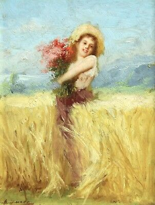 19th CENTURY BEAUTIFUL FRENCH OIL ON PANEL GIRL FIELD - INDISTINCTLY SIGNED