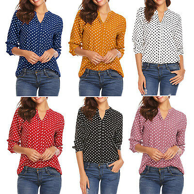 Plus Size Womens Polka Dot Rolled Sleeve Blouse Tops Ladies Office Casual Shirts
