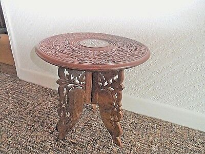 Vintage    Inlayed   Indian     Wood  Cherry  Blossom  Design Carved  Table
