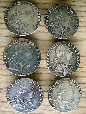 Rare Set Of 6 George 111 Solid English Silver Coin Buttons 1787 Shilling Antique