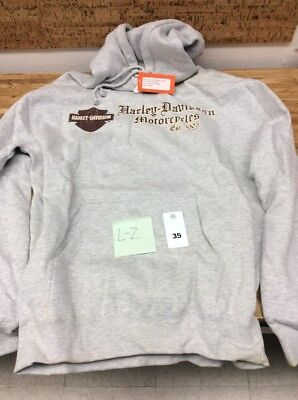 Harley Davidson Motorcycles Hooded Fleece Lined Sweatshirt With Pockets New L-2