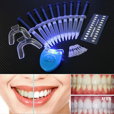Teeth Whitening Kit (10) Tubes (2) Trays (1) White LED Light Best 44% CP Gel USA