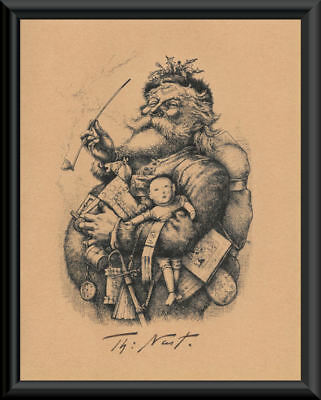 Santa Claus By Thomas Nast Print & Autograph Reprint On 100 Year Old Paper P168
