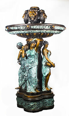 Monumental French Neo-Classical Revival Bronze Sculptural Pond Fountain 20th C