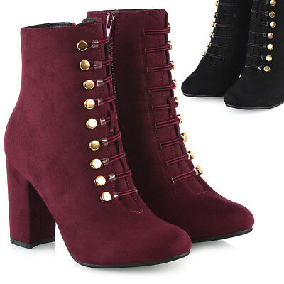 212f4f7d29d Womens Low Mid Block Heel Ankle Boots Ladies Button Up Military Booties  Shoes