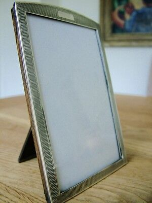 "Antique Solid English Silver Photo Picture Frame Hm1927 5"" X 3.25"" Oak Back Nr"