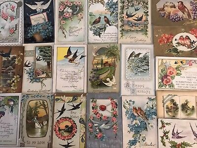 Lot of 28~ Vintage Holidays & Greetings Postcards all with *BIRDS~Bird-k49