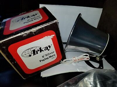 "New in Box Arkay 5"" Silver Paging Horn CBH-S   10 watts input; 8 ohms"